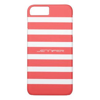 Monogramedの珊瑚の赤のストライプのカスタムの背景 iPhone 8 Plus/7 Plusケース