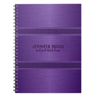 Monogramedの紫色の金属ブラシをかけられたアルミニウム一見 ノートブック