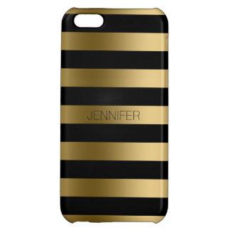 Monogramedの金ゴールドのストライプの黒い背景 iPhone5C