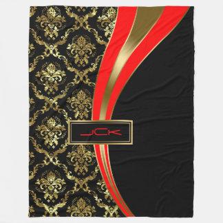 Monogramedの金ゴールドの赤く及び黒い花のダマスク織2 フリースブランケット