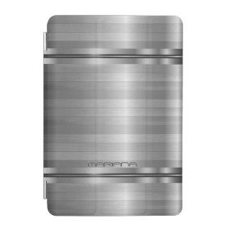 Monogramedの金属銀製灰色のストライプパターン iPad Miniカバー