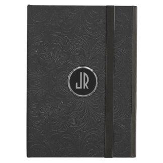 Monogramedの黒いスエードの革花柄 iPad Airケース