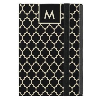 Monogramedの黒い及びベージュクローバーパターン iPad Mini ケース