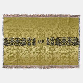 Monogramedの黒い及び金属金ゴールドの花のダマスク織3 スローブランケット