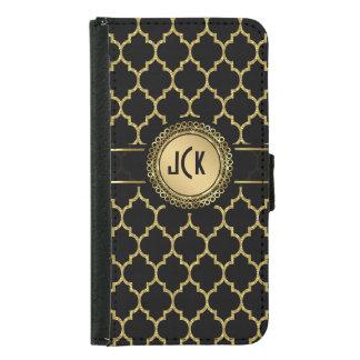 Monogramedの黒及び金ゴールドの幾何学的なクローバー Galaxy S5 ウォレットケース