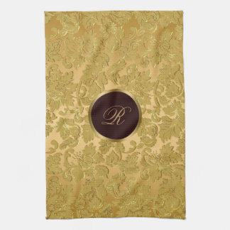 Monogrammの白黒金ゴールドの花柄のダマスク織 キッチンタオル