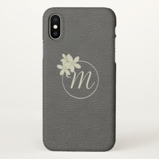 Monogrammed Black Leather Effect iPhone X ケース
