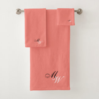 Monogrammed Coral Colored バスタオルセット