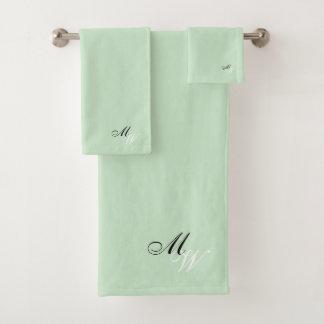 Monogrammed Mint Green Colored バスタオルセット