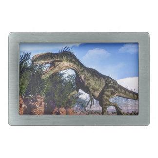Monolophosaurusの恐竜- 3Dは描写します 長方形ベルトバックル