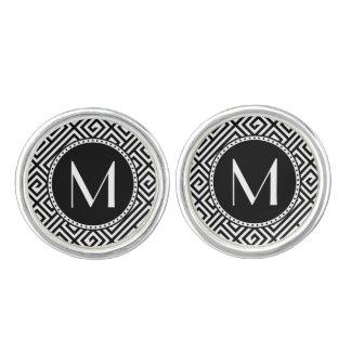 Monorgammedのギリシャ人の鍵の銀によってめっきされるカフスボタン カフスボタン