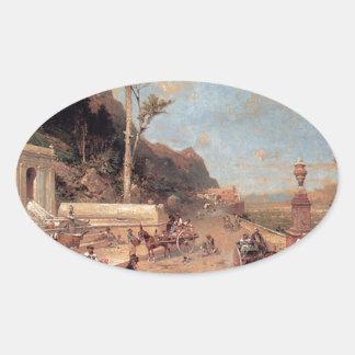 Monrealeの道、フランツリチャード著パレルモ 楕円形シール