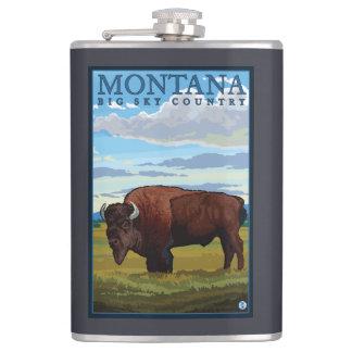 MontanaBisonのヴィンテージ旅行ポスター フラスク