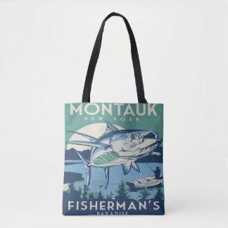 Montaukニューヨークの漁師の楽園のヴィンテージの戦闘状況表示板 トートバッグ
