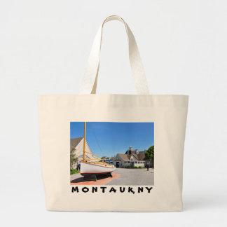 Montaukポイントの入口の村 ラージトートバッグ