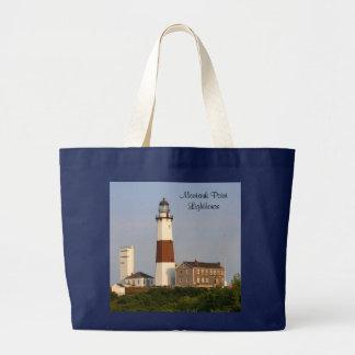 Montaukポイント灯台、ジャンボキャンバスのトートバック ラージトートバッグ