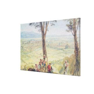 Monteマリオ、c.1818からのローマ(w/c鉛筆に キャンバスプリント
