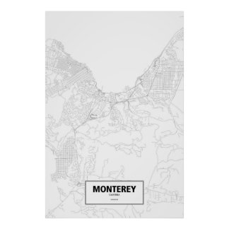 Monterey, California (black on white) ポスター