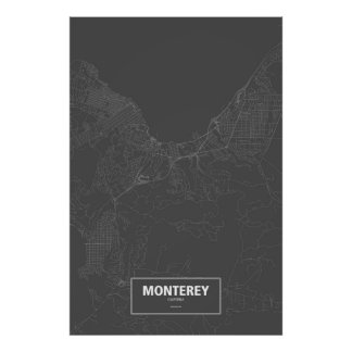 Monterey, California (white on black) ポスター