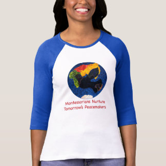 Montessoriansは平和四分の一袖のTシャツを育てります Tシャツ
