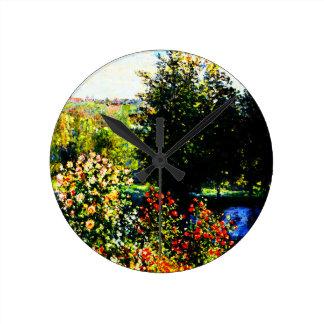 Montgeronの庭のクロウドのMonetバラ ラウンド壁時計