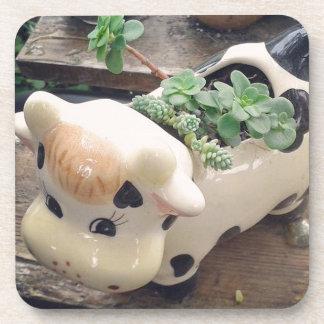 Mooの水気が多い植物で満ちている牛クリーム コースター