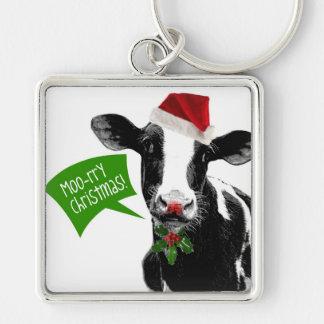 Mooのrryクリスマス! サンタの帽子のおもしろいな休日牛 シルバーカラー正方形キーホルダー