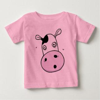 Moo牛-おもしろいな女の赤ちゃんのTシャツ-ピンク ベビーTシャツ