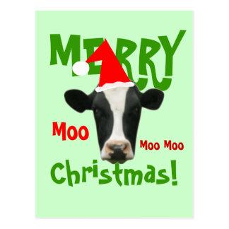 Moo Moo Mooのメリークリスマス牛郵便はがき ポストカード