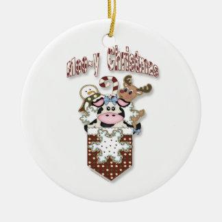 Moo~yのクリスマス牛ポケットオーナメント セラミックオーナメント