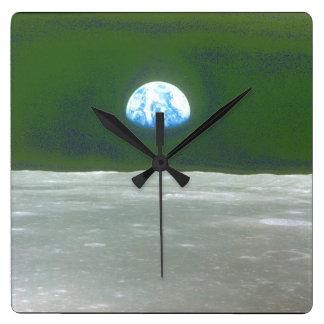 Moon_Spaceからの地球の眺め スクエア壁時計