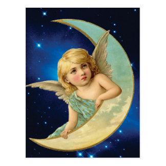 Moonbeam -天使および月のコラージュ ポストカード