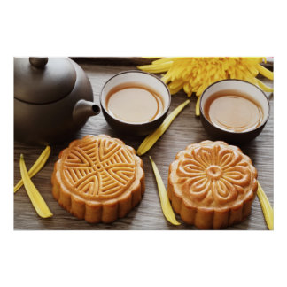Mooncakeおよび茶の中国のな中間の秋のフェスティバル ポスター
