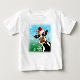 Moooootifulのクリスマス牛サンタの帽子 ベビーTシャツ