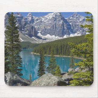 moraine湖、カナダ人ロッキー山脈、アルバータ、カナダ マウスパッド