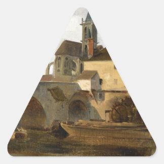 Moretのsur Loing、橋および教会 三角形シール