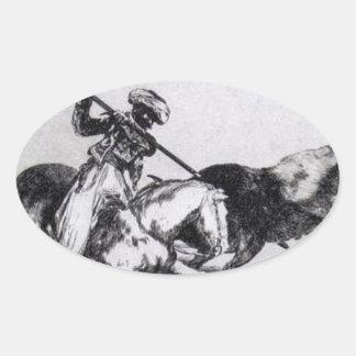 Morisco Gazulは雄牛を戦う第1です 楕円形シール