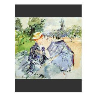 Morisot著公園に坐るパラソルを持つ女性 ポストカード