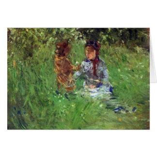 Morisot著Bougivalの庭の女性そして子供 カード