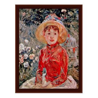 Morisot Berthe著おりを持つ若い女の子 ポストカード