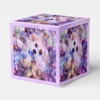 Morkieの小犬の紫色の泡立方体の好意箱 フェイバーボックス
