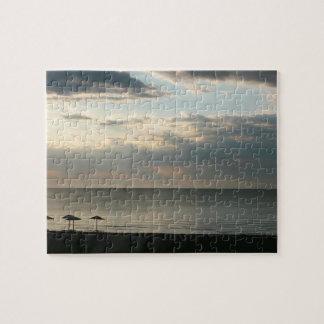 Morning sky over Greek beach photography ジグソーパズル