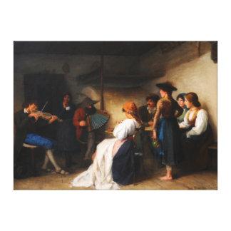Moroder-Lusenberg著Gardenaパーラーのミュージシャン キャンバスプリント