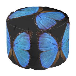 Morphoの青い蝶および黒いラウンドパフ プーフ