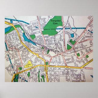 MorristownのNJのヴィンテージの地図ポスター ポスター