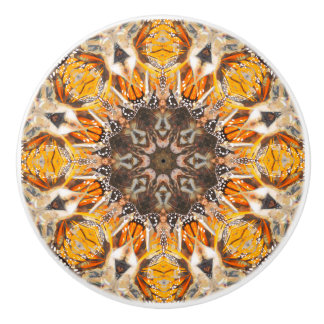 Mosaic Abstract Monarch Butterfly Mandala Pattern セラミックノブ