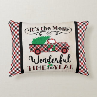 Most Wonderful Time Christmas Plaid Truck Pillow アクセントクッション