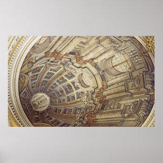 Mostaの円形建築の(マルタ)天井のアートワーク ポスター