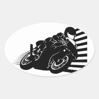 Motorcycle 卵形シールステッカー