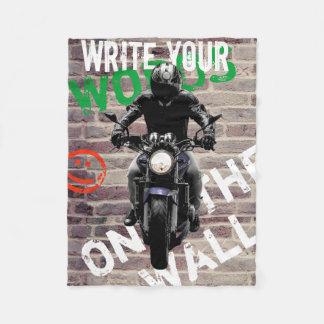 Motorcycle Blanket Brick Wall fCustom Graffitti フリースブランケット